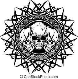 skull_on_pattern - Abstract vector illustration black and...