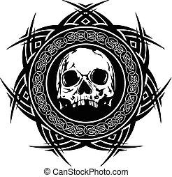 skull_on_pattern - Abstract vector illustration black and...
