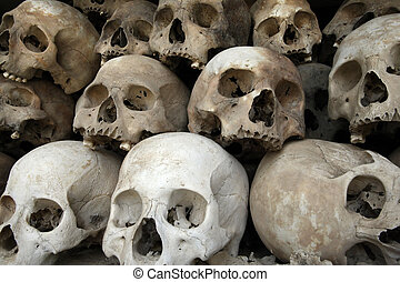 A pile of skulls from the Killing Fields in Phnom Penh, Cambodia.