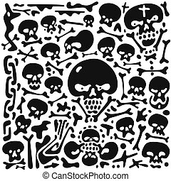 Skulls and bones doodles