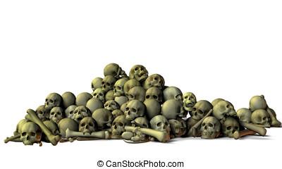 Skulls and bones - Huge pile of human and vampire skulls and...