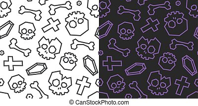 Skulls and bones low poly seamless pattern. Black and white background, 2 versions.