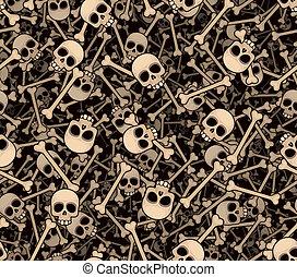 Skulls and bones. Seamless background