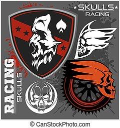Skulls and car racing symbols on dark background