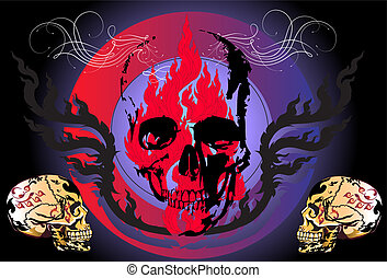 skulls-art-line-thai-design