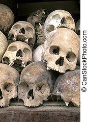 Skulls at Killing Fields- Phnom Penh, Cambodia - A...