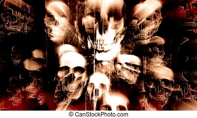 Skulls black red and pale yellow Halloween grunge horror abstract looping background
