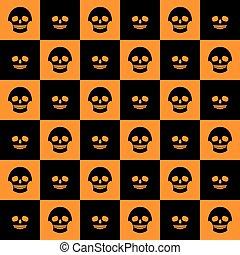 skulls chess pattern flat