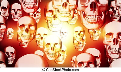 Skulls color overlay pulse looping animated background -...