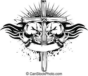 skulls cross tribal