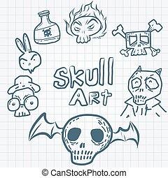 Skulls doodles vector set