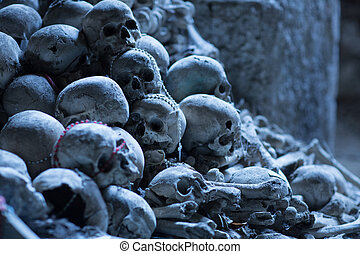 Skulls in Fontanel cemetery, Sanità quarter Naples