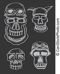 Skulls in helmet