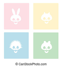 skulls of various animals on a colored background