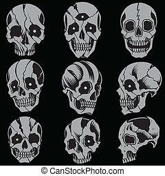 Skulls Old school style Set 01