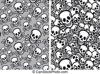Skulls seamless patterns, vector