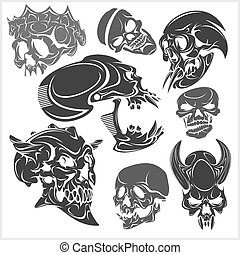 Skulls set. Vector illustration.