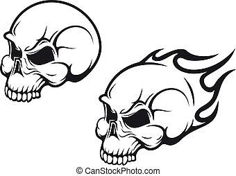 Danger skulls as a tattoo or evil concept