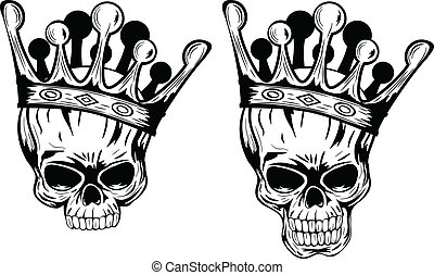 Skulls with crowns - Vector illustration skulls with crowns
