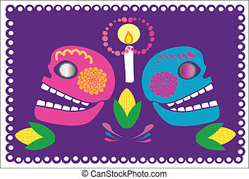 skulls with flowers 2 - Is a EPS Illustrator file
