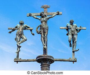 skulptur, kreuzigung jesus christus, inri