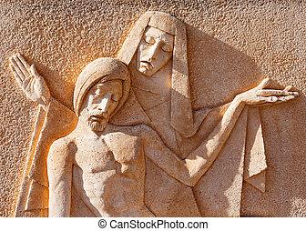 skulptur, von, der, jungfrau, und, jesus christus