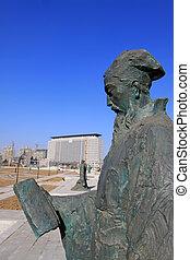 skulptura, starobylý, mistr, confucianism, číňan