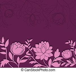 skum fond, med, rosa blommar