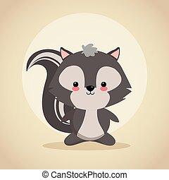 Skunk cartoon icon. Woodland animal. Vector graphic