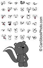 skunk plush cartoon expressions