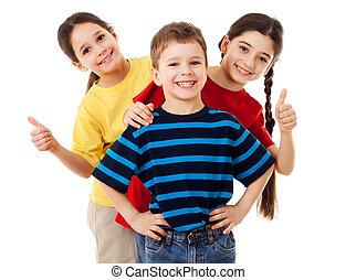 skupina, o, šťastný, děti