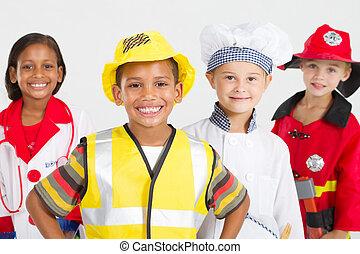 skupina, o, šťastný, maličký, dělníci