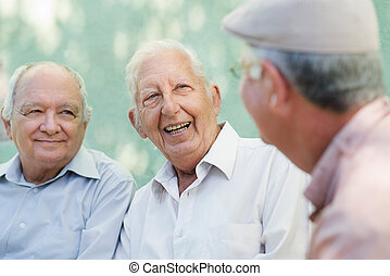 skupina, o, šťastný, obstaroný voják, smavý, a, mluvící