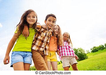 skupina, o, objetí, 6, rok, děti