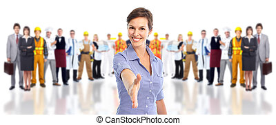 skupina, o, průmyslový, workers.