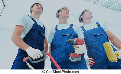 skupina, o, profesionál, průmyslový dělník