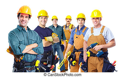 skupina, o, profesionál, průmyslový, workers.