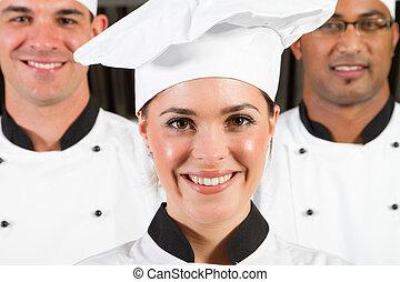 skupina, o, profesionál, vrchní kuchař
