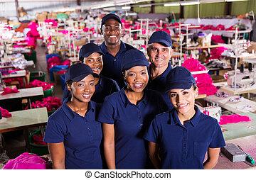 skupina, o, textilní továrna, dělníci