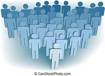 skupina, podnik, shromažďování, nebo, lidnatost, o, 3, znak,...