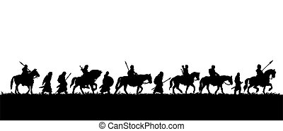 skupina, válečníci, silueta, středověký, expedice