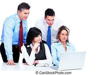 skupina, working., business národ