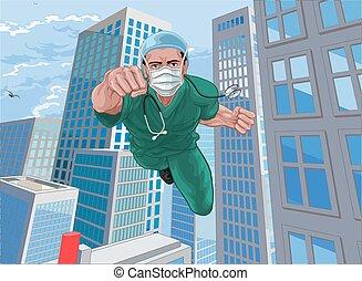 skura, toppen, läkare, sköta, superhero, flygning, hjälte