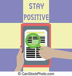 skutečný, být, zavázat se, positive., pozdvihnout, povolání, fotografie, showing, utišit, dílo, pojmový, optimistický, showcasing, rukopis, thoughts