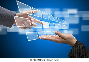 skutečný, technika, dotyková obrazovka, rozhraní