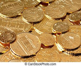 skutečný, zlatý razit, nežli, neražený kov, investice