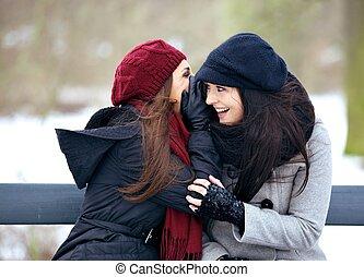 skvaller, kall, flickor, vinter, utomhus