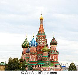 skwer, basil\'s, st., moskwa, katedra, rosja, czerwony