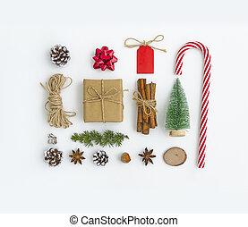 skwer, boks, powitanie, drzewo, cynamon, tag., jodła, card., stożki, anyż, gwiazdy, biały, gałąź, boże narodzenie, płaski, pieśń, tło, robiony, łuk daru, formułować, skład, związać, cukierek, nakrętka, górny prospekt