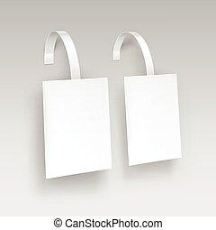 skwer, cena, odizolowany, plastyk, reklama, tło, czysty, wobbler, biały, papper